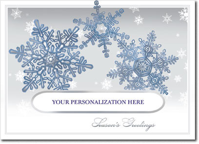 Blue Snowflake Die-Cut Window (25 cards & envelopes) Personalized Business Boxed Holiday Cards