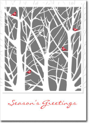 Seasonal Cardinals (25 cards & envelopes) Personalized Boxed Holiday Cards