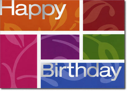 Happy Birthday Color Block (25 cards & envelopes) Personalized Business Boxed Birthday Cards