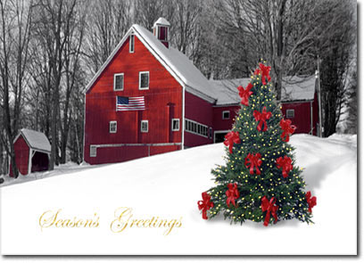 Patriotic Barn (25 cards & envelopes) - Boxed Holiday Cards