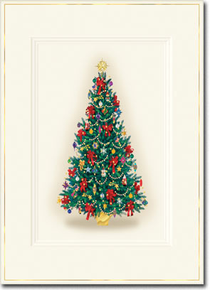 Decorated Tree (25 cards & envelopes) Personalized Boxed Christmas Cards