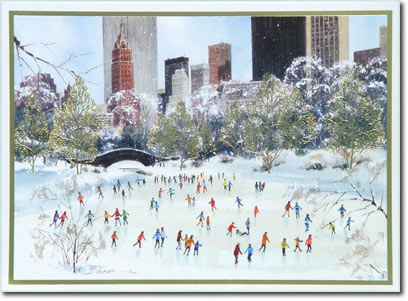 Skating in Central Park (25 cards & envelopes) Personalized New York City Boxed Holiday Cards