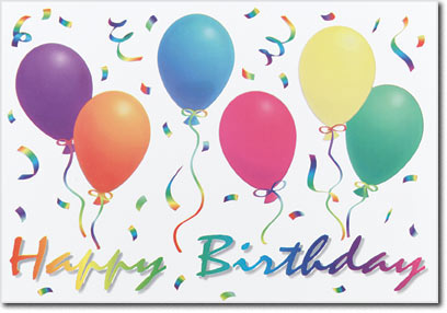 Birthday Ballons & Confetti (25 cards & envelopes) Personalized Business Boxed Birthday Cards