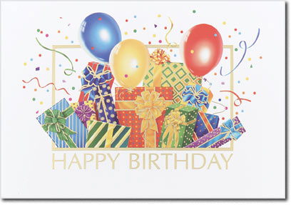 Colorful Birthday Presents (25 cards & envelopes) - Boxed Birthday Cards