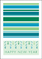 Stripes of Blue and Green (25 cards & envelopes) - Boxed New Year Cards