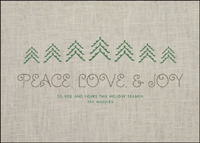 Peace Love & Joy (25 cards & envelopes) Custom Imprint Boxed Holiday Cards
