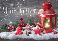 Red Lantern with Candle (25 cards & envelopes) - Boxed Christmas Cards