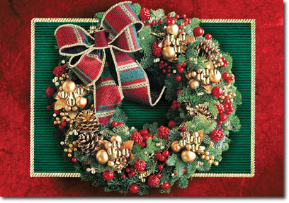 Embellished Christmas Wreath (25 cards & envelopes) - Boxed Christmas Cards