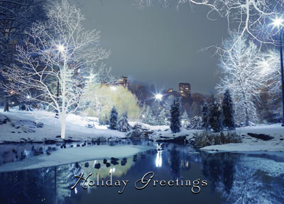 City Park Holiday Greetings (25 cards & envelopes) Personalized Business Boxed Christmas Cards