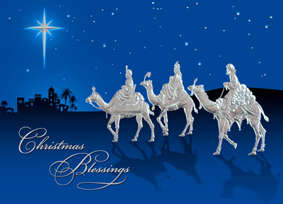 Three Kings in Silver Foil (25 cards & envelopes) - Boxed Christmas Cards