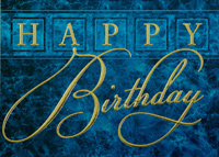 Happy Birthday on Blue Marble (25 cards & envelopes) Custom Imprint Boxed Birthday Cards