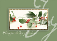 Joyous Berries (25 cards & envelopes) Personalized Recycled Business Boxed Christmas Cards