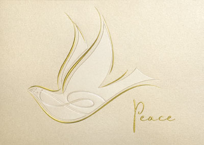Bringing Peace (25 cards & envelopes) Personalized Recycled Business Boxed Holiday Cards