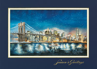 American Artist - Skyline at Night (25 cards & envelopes) Personalized Recycled Business Boxed Christmas Cards