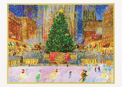 American Artist - Rockefeller Center (25 cards & envelopes) Personalized Recycled Business Boxed Christmas Cards