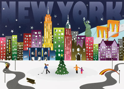 New York Landmarks (25 cards & envelopes) Personalized Recycled Business Boxed Holiday Cards