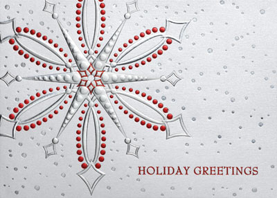 Snowflake Greetings (25 cards & envelopes) Personalized Recycled Business Boxed Christmas Cards