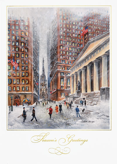 American Artist - Wall Street (25 cards & envelopes) Personalized Recycled Stock Market Boxed Christmas Cards