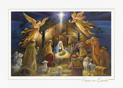 Old Master Adoration (25 cards & envelopes) Personalized Recycled Religious Boxed Christmas Cards