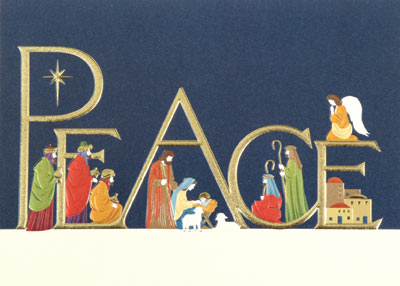 Peace With Nativity (25 cards & envelopes) Personalized Recycled Religious Boxed Christmas Cards