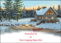 Christmas Cabin (25 cards & envelopes) - Boxed Holiday Cards
