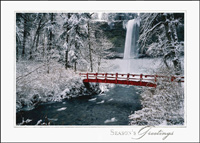 Red Bridge and Waterfall (25 cards & envelopes) - Boxed Holiday Cards
