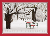 Red Snowy Bench (25 cards & envelopes) - Boxed Holiday Cards