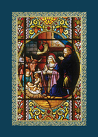 Stained Glass Nativity (25 cards & envelopes) Custom Imprint Boxed Christmas Cards