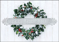Snowy Christmas Wreath (25 cards & envelopes) - Boxed Christmas Cards