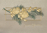 Golden Pinecones (25 cards & envelopes) - Boxed Holiday Cards