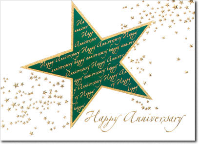 Green Star Anniversary (25 cards & envelopes) Personalized Business Boxed Anniversary Cards