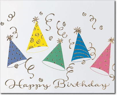 Party Hats & Confetti (25 cards & envelopes) Personalized Business Boxed Birthday Cards