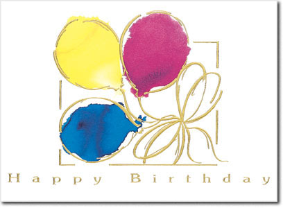 Tied Balloons (25 cards & envelopes) Personalized Business Boxed Birthday Cards