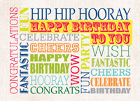 Hip Hip Hooray (25 cards & envelopes) Custom Imprint Boxed Birthday Cards