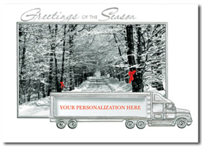 Christmas Journey (25 cards & envelopes) Personalized Shipping or Trucking Boxed Holiday Cards