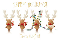 Cheery Reindeer (25 cards & envelopes) Personalized Business Boxed Christmas Cards