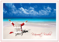 Santa Relaxing at Beach (25 cards & envelopes) - Boxed Christmas Cards