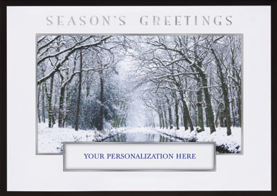 Winter Stream Die Cut (25 cards & envelopes) Personalized Business Boxed Holiday Cards