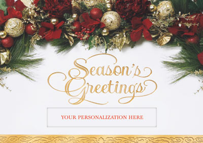 Holiday Swag Die Cut (25 cards & envelopes) Personalized Business Boxed Holiday Cards