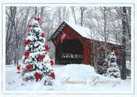 Holiday Covered Bridge (25 cards & envelopes) Personalized Patriotic Business Boxed Christmas Cards