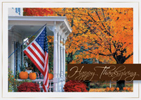 Fall Porch with Flag (25 cards & envelopes) - Boxed Thanksgiving Cards