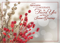 Tidings of Appreciation (25 cards & envelopes) Custom Imprint Business Boxed Holiday Cards
