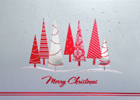 Red and Silver Christmas Trees (25 cards & envelopes) - Boxed Christmas Cards