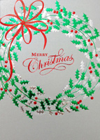 Holly Foil Wreath (25 cards & envelopes) - Boxed Christmas Cards