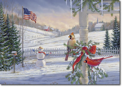 American Tradition - Cardinal (25 cards & envelopes) Personalized Patriotic Boxed Holiday Cards