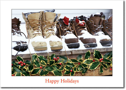 Winter Work Boots (25 cards & envelopes) Personalized Boxed Holiday Cards