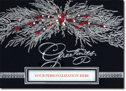 Die-Cut Holly Spray (25 cards & envelopes) Personalized Business Boxed Holiday Cards