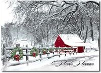 Winter Farmstand (25 cards & envelopes) Personalized Business Boxed Christmas Cards