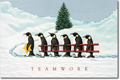 Penguin Procession (25 cards & envelopes) Personalized Funny Boxed Holiday Cards
