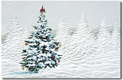 Country Christmas Tree (25 cards & envelopes) Personalized Recycled Business Boxed Christmas Cards